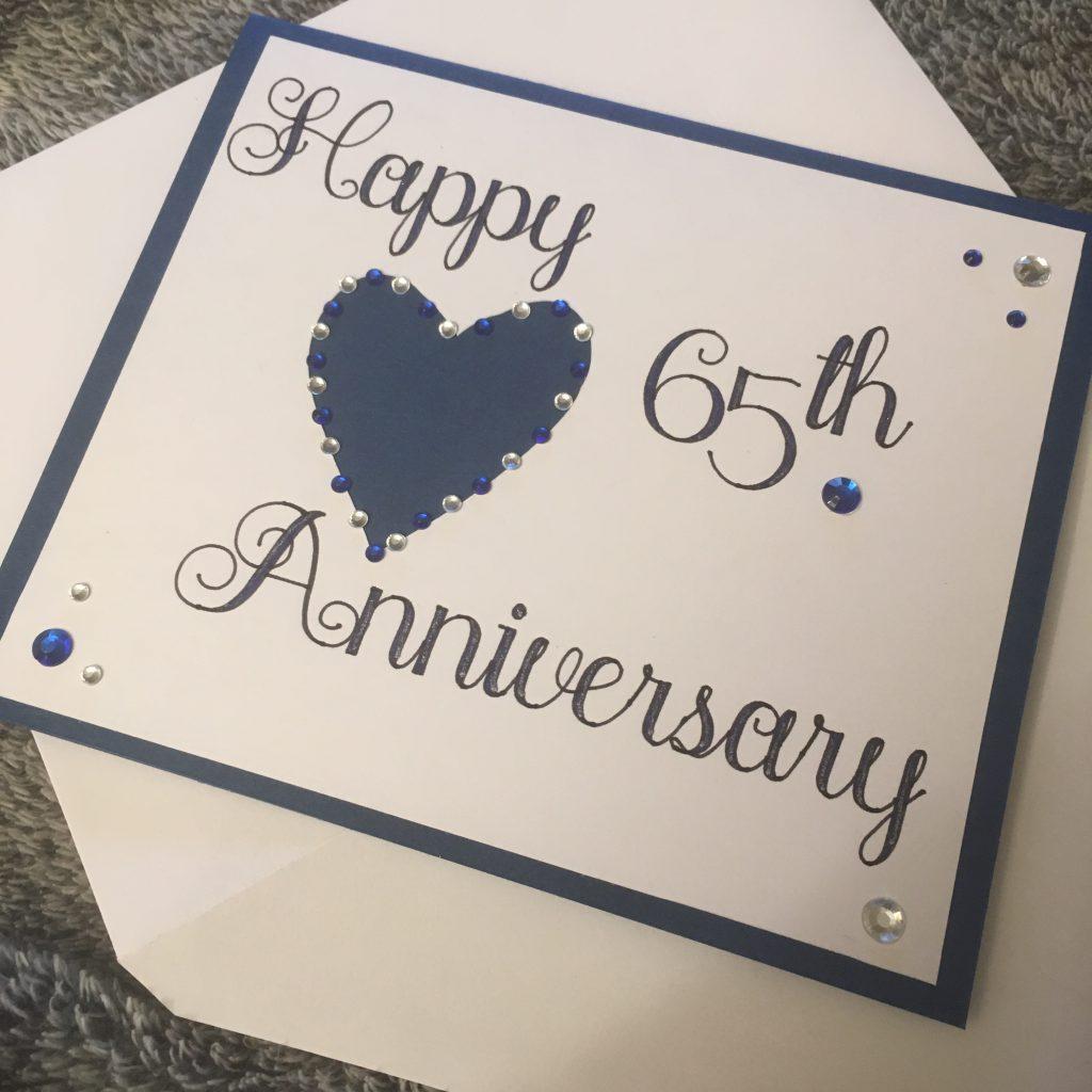 blue and diamante 65th sapphire anniversary card