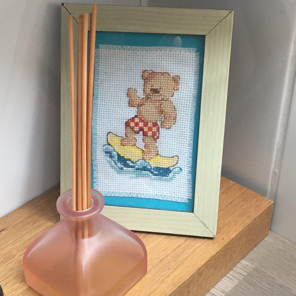 Cross-stitch surf teddy