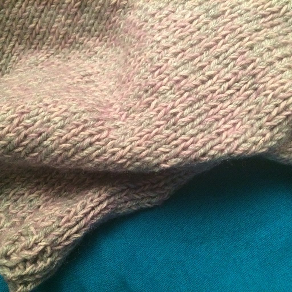 Close up of knitting work