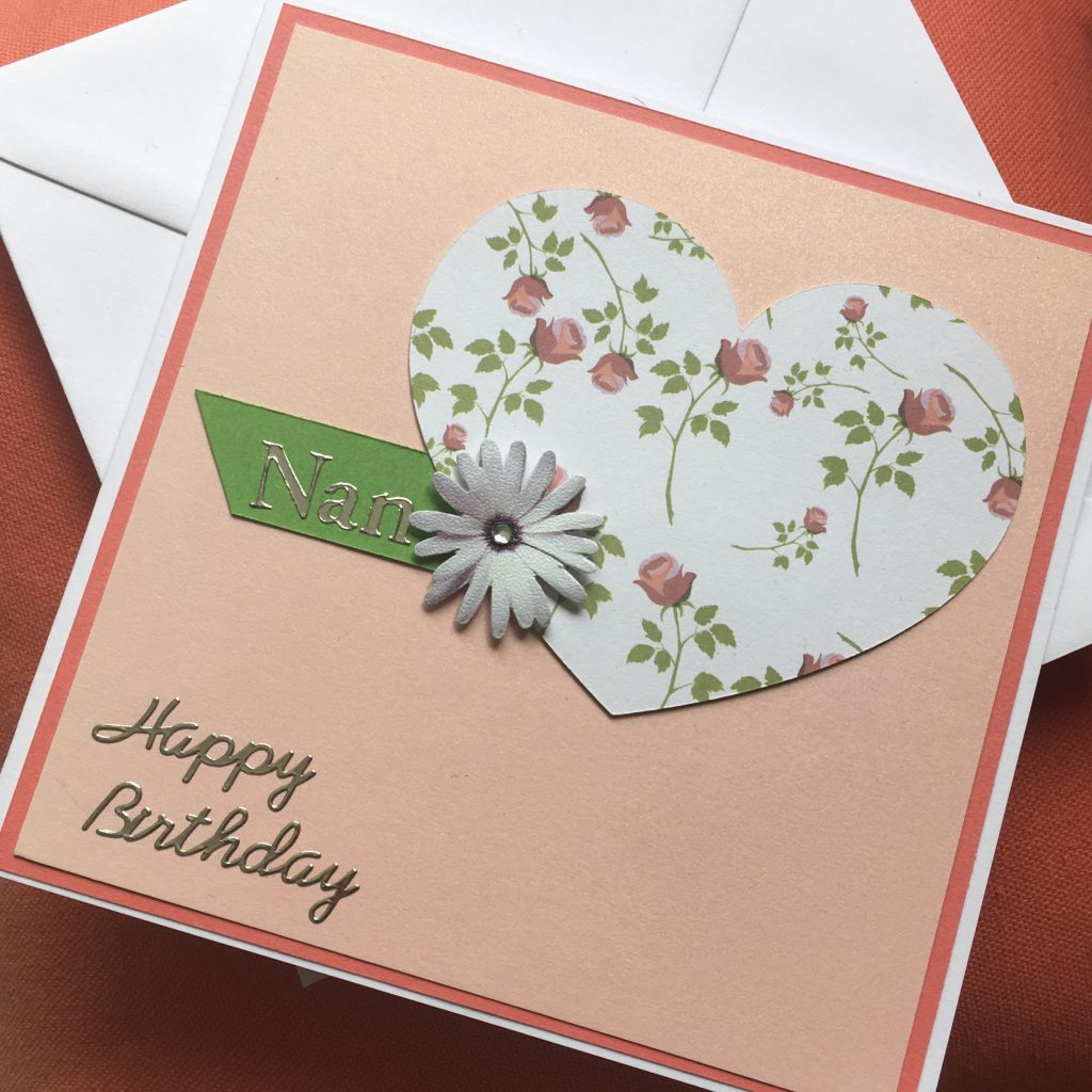 Handmade card with floral heart and flower accent - The Craft Room and Beyond