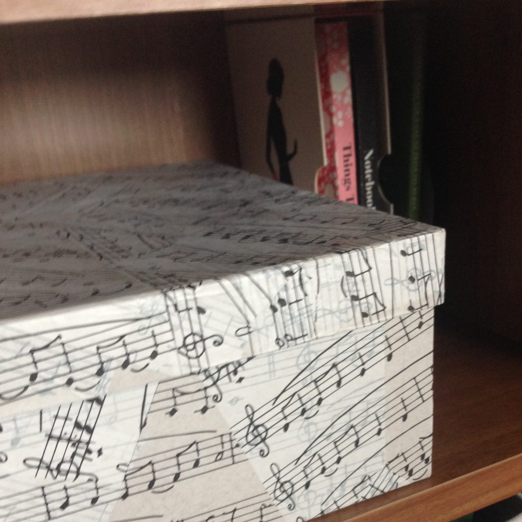 Music print decopatched storage box