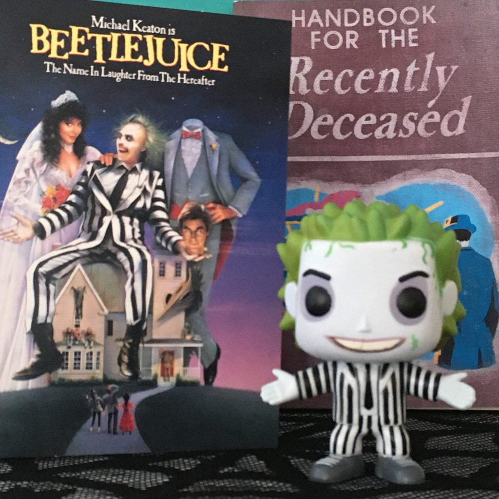 Halloween Movie Favourites - Beetlejuice DVD with Handbook For the Recently Deceased Notebook, and Betelgeuse character Funko Pop