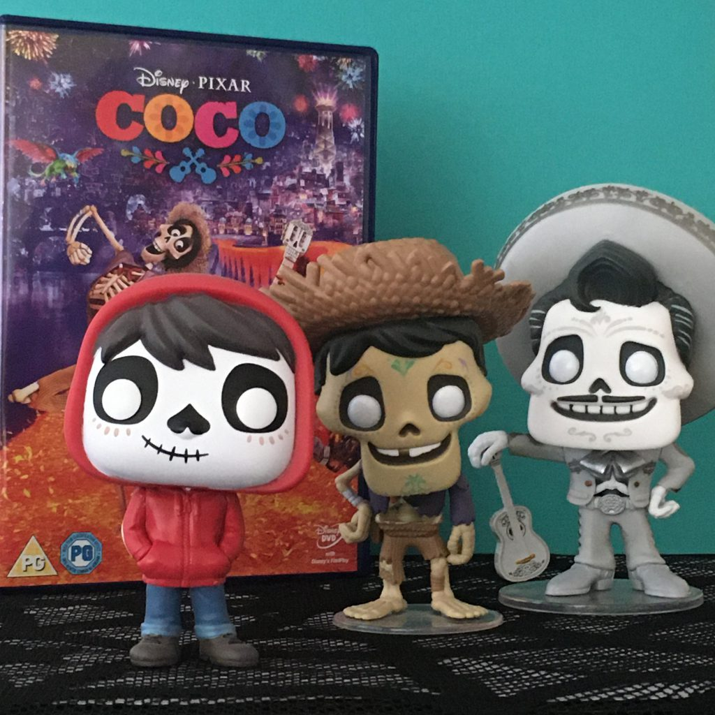Halloween Movie Favourites - Disney Pixar Coco DVD with Miguel, Hector and Ernesto character Funk Pop Figures