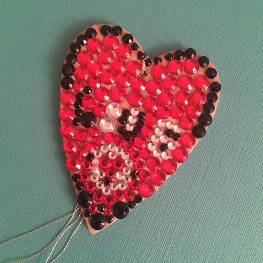Wooden Hanging Hearts - gems