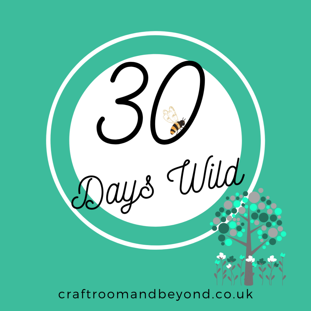 30 Days Wild graphic with tree and flowers and a bee in the 0