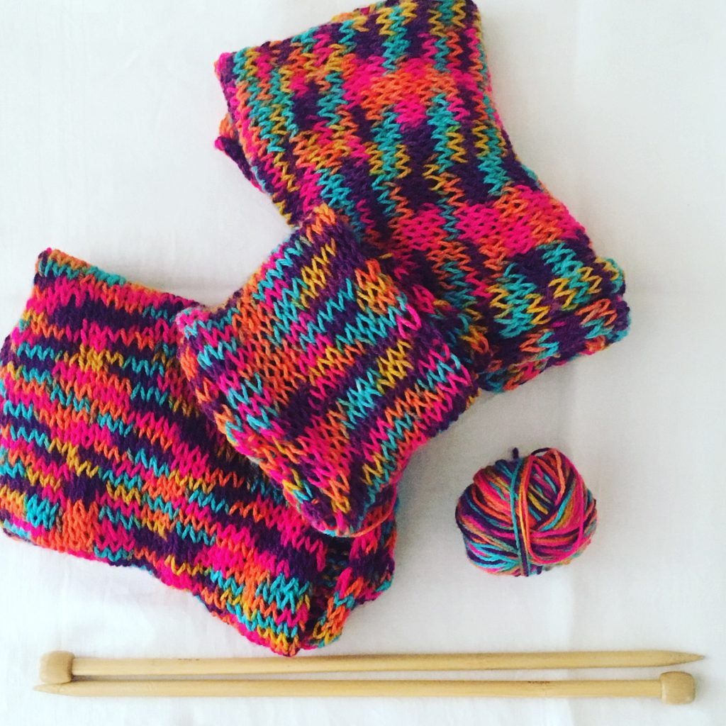 Bright Knitting - three finished pieces of four!