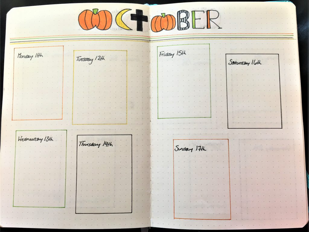 October Bujo spread, weekly layout in yellow, black, orange and green