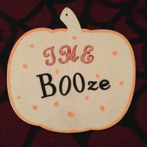 """Halloween crafts for adults - """"The BOOze"""" wooden sign"""